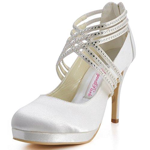 ElegantPark EP11085-PF Zapatos Novia Boda Plataforma Rhinestones Cerrado Zipper Raso Zapatos Fiesta Boda Mujer Marfil Talla EU 39