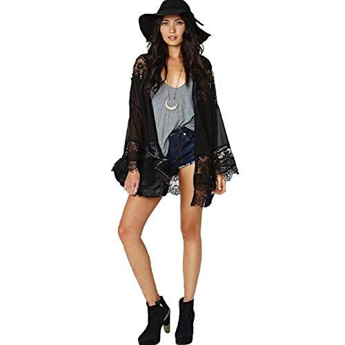 Cardigans Mujer Negro Largo 2019 Nuevo SHOBDW Pareos Casual Bikini Cover Up Beachwear Transparentes Playa de Verano Cardigans Mujer Kimono Gasa Encaje Empalme Chal Tops Blusa(Negro,M)