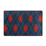 ZHENG Alfombrilla de baño,Patrón de argollas de Cuadros Escoceses navideños,Alfombra de baño con Motivos de Diamante Rojo ardiente Azul Real 45cmx75cm
