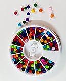 WorldWesties Nail Jewelry Multicolor Flower Rhinestones 3d Nail Art Flower Decoration Accessory