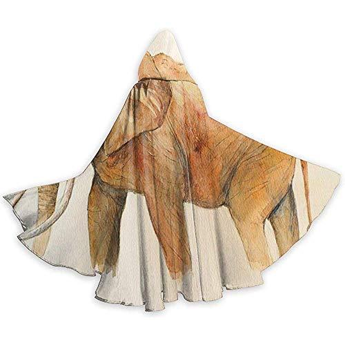KDU Fashion tovermantel Elephant Painting Hooded Cape Cloak Aantrekkelijke tovermantel voor heks magische kostuums 40x150cm
