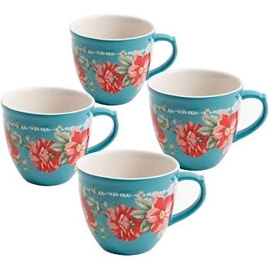 The Pioneer Woman Vintage Floral Teal 16-Ounce Mug Set, Set of 4