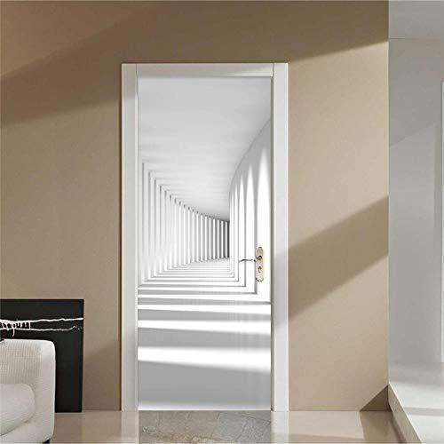 FCFLXJ 3D Porta Murale Corridoio bianco 95x215cm Poster Adesivi per porte 3D in PVC Adesivo per Porta, Home Decorazione Pellicola Decorativa Carta Autoadesiva Cameretta