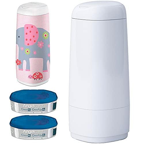 Angelcare® Dress-Up XL Starter-Set: Windeleimer + 2 Nachfüllkassette + Dress-Up XL Bezug Elephant Family