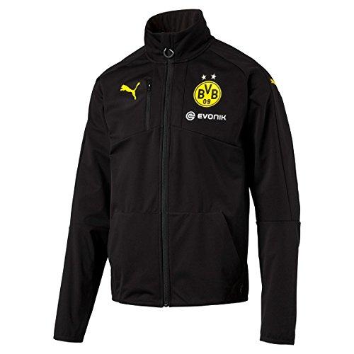 Puma Herren Jacke BVB Softshell Jacket with Sponsor, Black-Cyber Yellow, XXL, 749859 02