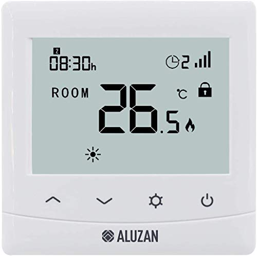 Aluzan Termostato WiFi EB-160, pantalla brillante, Smart Home programable, compatible con Amazon Alexa, Google Home, IFTTT, termostato digital Homekit, Android, iOS