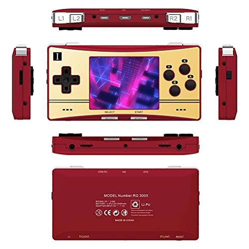 Console de jogos RG300X, tela IPS de alta definição de 3,0 polegadas, bateria de 2500 mAh, mini leitor de videogame compatível com PS1 console portátil de jogos 16 + 32 G com 7000 tipos de jogos (vermelho)