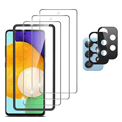 omitium 5 Unidades Protector de Pantalla Samsung Galaxy A52 4G / 5G, 2 Protector de Lente de Cámara y 3 Cristal Templado Anti-arañazos, 9H Dureza, Anti-Burbujas