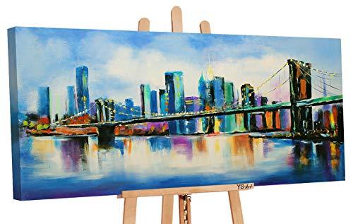 YS-Art   Cuadro Pintado a Mano Puente   Cuadro Moderno acrilico   115x50 cm   Lienzo Pintado a Mano   Cuadros Dormitories   único   Azul