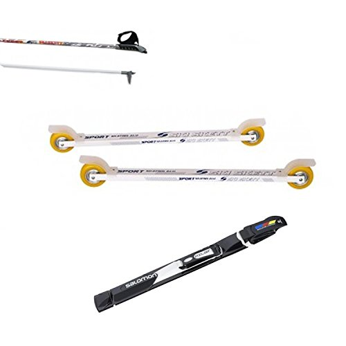 Ski Skett Série Ski Roue, Ski Roue Sport Skate ALU PV, Fixations Salomon Pilot SK, bâtons pour Ski Roue Long. 165 cm.