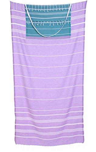 Cacala Peshtemal Turco Toalla de baño y Bolsa Combo–Convierte de Bolsa para Toalla–100% algodón–Super Absorbente & Plush Bolsa de Playa y Toalla de Playa