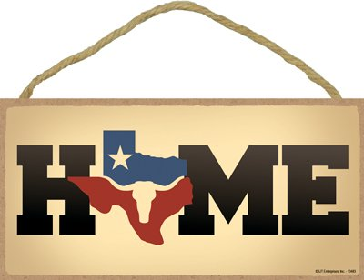 "SJT ENTERPRISES, INC. Texas - Home with Outline of Texas As The O - Longhorn and Star Inside Outline 5"" x 10"" Wood Plaque Sign (SJT13483)"