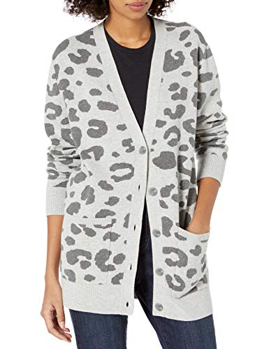 Amazon Brand - Daily Ritual Women's Ultra-Soft Leopard Jacquard Cardigan Sweater, Heather Grey Print, Large
