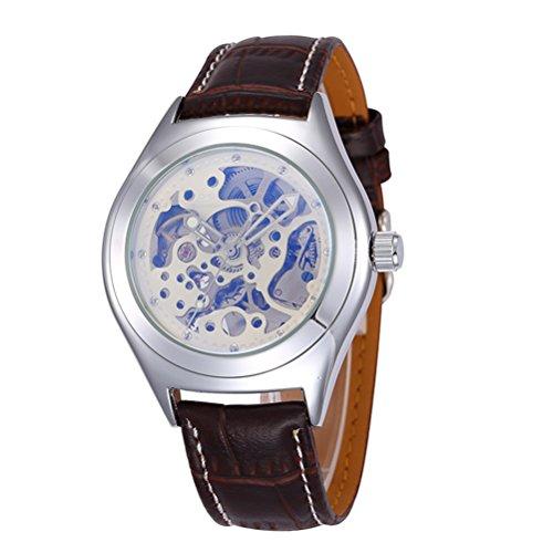 PIXNOR Reloj de pulsera mecánico automático para hombre con correa de poliuretano (blanco+plata+marrón)