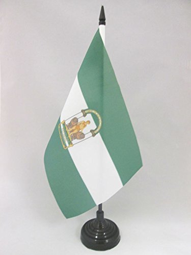 AZ FLAG Bandera de Mesa de ANDALUCÍA 21x14cm - BANDERINA de DESPACHO ANDALUZA 14 x 21 cm