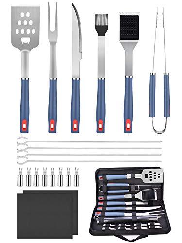 BlueFire 20 Pezzi Kit Accessori Barbecue in Acciaio Inox, Utensili Barbecue...