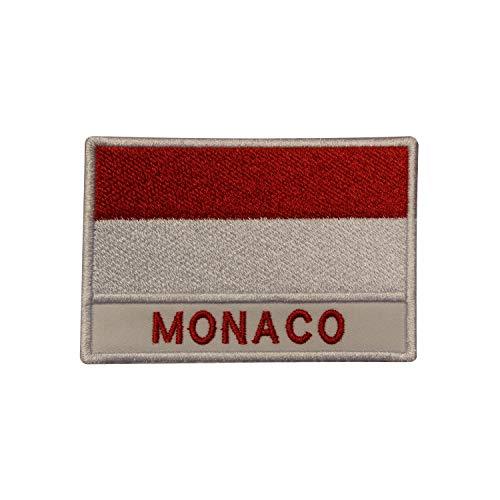 Aufnäher, Motiv: Monaco-Nationalflagge, bestickt, zum Aufbügeln oder Aufnähen, für Kleidung etc.