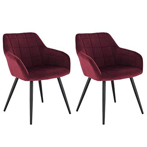 WOLTU® Esszimmerstühle BH93bd-2 2er Set Küchenstuhl Polsterstuhl Wohnzimmerstuhl Sessel mit Armlehne, Sitzfläche aus Samt, Metallbeine, Bordeaux