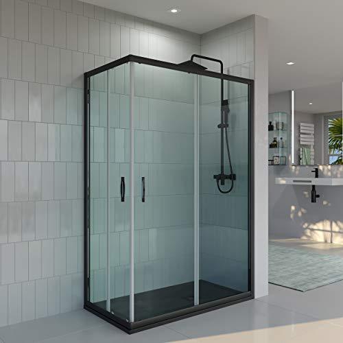 Mampara de ducha ANGULAR-RECTANGULAR VAROBATH de 2 FIJAS + 2 CORREDERAS - Vidrio 6 MM TRANSPARENTE -Tratamiento ANTICAL INCLUIDO (70-80x130-140, Negro)