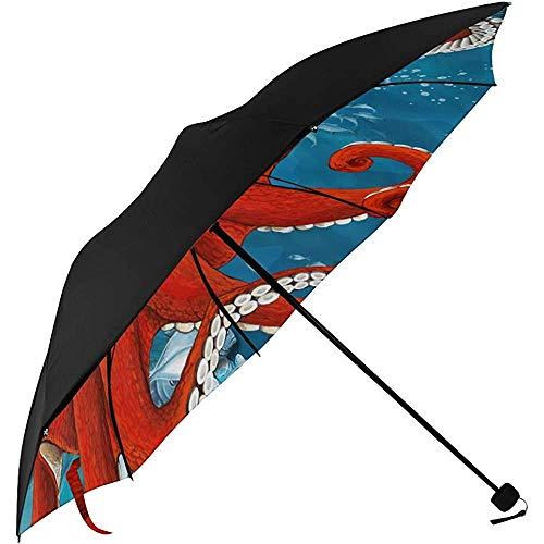 Faltbarer Regenschirm Kinderwagen Octopus Close Underside Printing Sonnenschirm Stuhl Girls Travel Umbrella Travel Umbrella Men