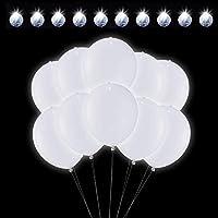 🎀【Langer Leuchtdauer】Hochwertige LED Luftballons,Entworfen für die Nacht-Party. Eingebaute AG3-Tasten-Batterie und jeder Ballon kann für mindestens 24 Stunden blinken. Led luftballons weiß ist eine gute Idee für die Party. ❤️【Einfach zu bedienen】Einf...