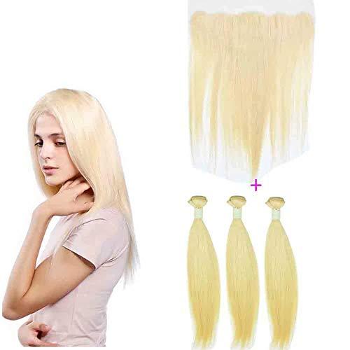 Queengirl Lot de 3 trames de cheveux brésiliens Remy avec dentelle frontale Blond 613 13 x 4