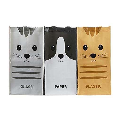 Balvi Set Bolsas Reciclaje Meow Set de 3 Bolsas (43x22x22 cm) con Asas Medida Total: 43x66x22 cm Plástico Reciclado