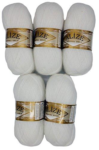 Alize 5 x 100 g Strickwolle mit Mohair, weiß Nr. 55 zum Stricken und Häkeln, 500 Gramm Wolle