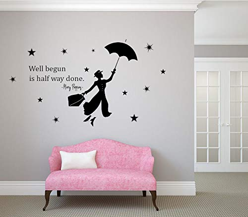 Nuevo Mary Poppins con Paraguas citación estrella Pegatina de pared Etiqueta de la pared Sala Casa Pegatinas modernas Decoración Decoración Elegante Calcomanías Art º