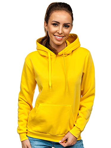 BOLF Femme Sweat-Shirt a Capuche Hoodie Sweat Manches Longues Temps Libre Sport Fitness Outdoor Basic Casual Style J.Style W02 Jaune Claire L [A1A]