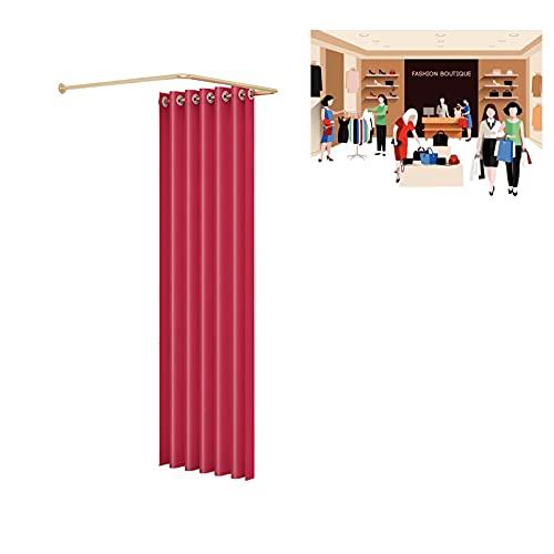 HRD Móvil Vestuario Portátil Probador Simple Vestidor Carril de Riel Tipo U con Tela de Sombreado Divisor de Privacidad Pantalla Fácil de Desmontar (Color : Red, Size : 80x80cm)