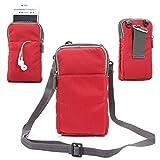 jbTec Handytasche zum Umhängen 180x110x35mm Nylon klein - Gürteltasche Handy Umhängetasche Gürtel Tasche Hüfttasche Case, Farbe:Rot