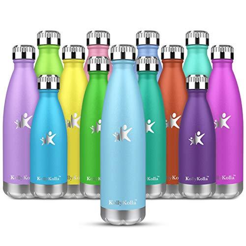 KollyKolla Botella de Agua Acero Inoxidable, Termo Sin BPA Ecológica, Botellas Termica Reutilizable Frascos Térmicos para Niños & Adultos, Deporte, Oficina, Yoga, Ciclismo, (500ml Azul Cielo)