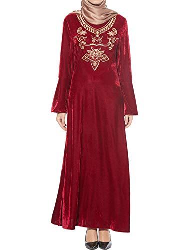 Vestido Islámico de Manga Larga para Mujer - Ropa Musulmana con Bordado Informal Vestido árabe Rojo