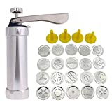 25Pcs Baking Tools Pro Aluminum Atlas Deluxe Biscuit Maker Cookie Press Bakeware Cookie Tools with 20 Discs and 4 Icing Tips