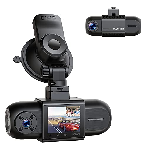 """Dual 1080P Dash Cam with GPS, Front and Inside Car Camera with IR Night Vision, 1.5"""" LCD Screen Car Dash Camera Wide Angle for Cars with Parking Monitor G-Sensor Loop Recording, Support 256GB Max"""