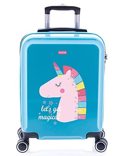 imome Cool Maleta de Cabina Infantil Let's Get Magical 55x40x20 cm | Equipaje de Mano, Trolley de Viaje Ryanair, Easyjet | Maleta de Viaje Turquesa Rígida Divertida Unicornio Juvenil