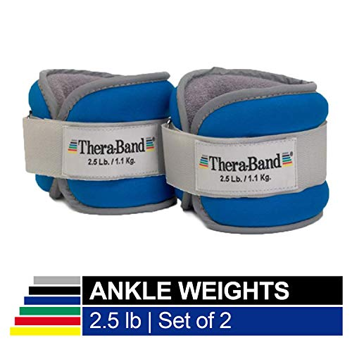 TheraBand Ankle Wrist Weights, Comfort Fit Cuff Weight Set, Adjustable Walking Weights for Home Workout