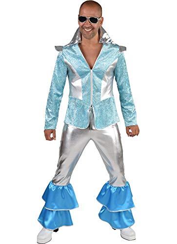 M220293-M - Disfraz de discoteca para hombre, color plateado y turquesa, talla M = 52