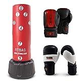 FITBAG - Sistema de Fitness Completo - Saco de Boxeo 'Wavemaster XXL' + Dos Pares de Guantes y aplicación de Ejercicio Interactivo - Rojo