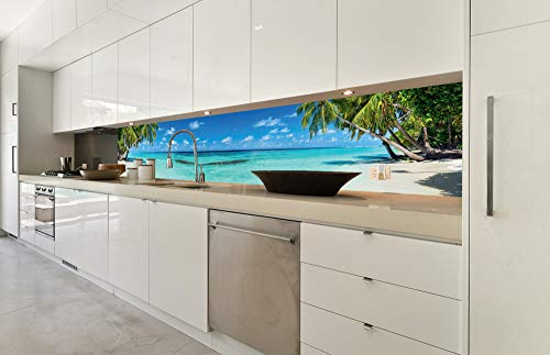DIMEX LINE Küchenrückwand Folie selbstklebend Strand IM Paradies 350 x 60 cm | Klebefolie - Dekofolie - Spritzschutz für Küche | Premium QUALITÄT