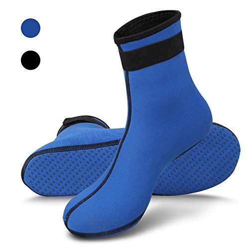 RTDEP Calze Sportive, Calze da Acqua in Neoprene da 3 mm per Donna Uomo, Scarpe da Acqua Antiscivolo, Calze da Muta Termica, Calze da Snorkeling (Blu, XXL(EUR 44-45.5))
