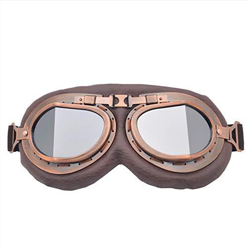 WANXJM Gafas de Motocross, Gafas Estilo piloto de Aviador Vintage, Gafas de Medio Casco de Motociclista, para Casco de protección Ocular a Prueba de Viento,B