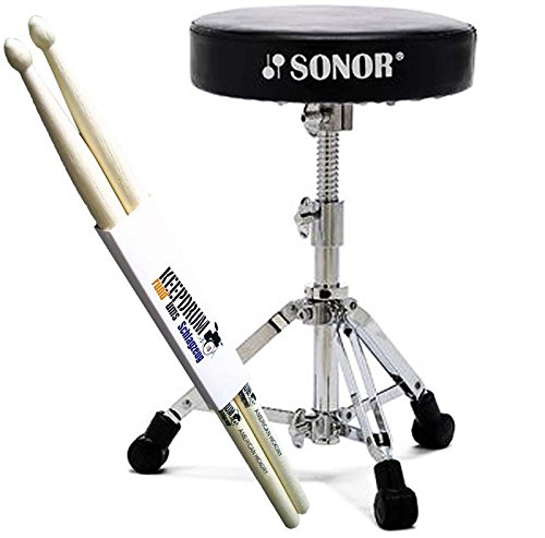 Sonor DT-2000 Drumhocker Schlagzeug Hocker + keepdrum Drumsticks 1 Paar