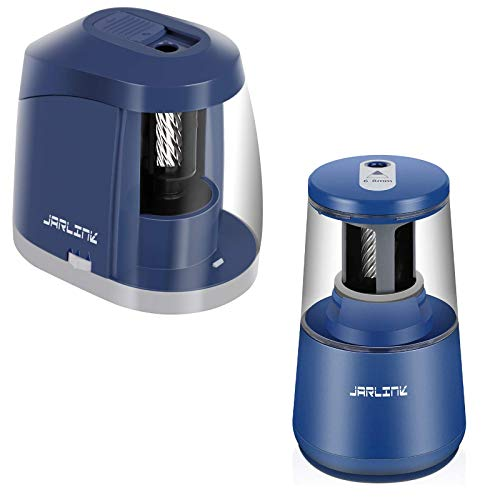 JARLINK Electric Pencil Sharpener Heavy-Duty Bundle with New Version Battery Operated Pencil Sharpener for School Classroom Office, Auto Stop for No.2/Colored Pencils(6-8mm)
