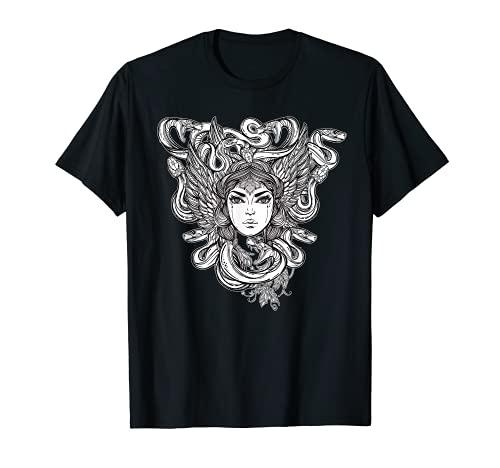 Greek Mythology Medusa Head Tshirt - Occult Serpent Monster