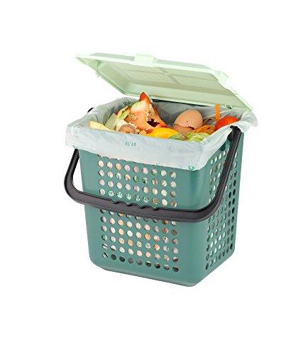 Seau à compost AirBox® avec sacs bio compostables BIOMAT® de 10l (52 pcs. avec poignée)