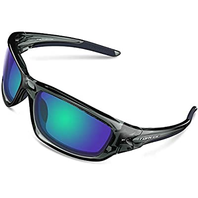 TOREGE Polarized Sports Sunglasses For Man Women Cycling Running Fishing Golf TR90 Frame TR011 -Upgrade (Transparent Grey frame&Black TIPS&Green Lens)