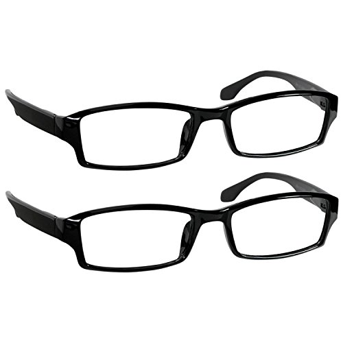 Reading Glasses 0.75 Black (2 Pack) Reader Glasses for Men and Women Have a Stylish Look and Crystal Clear Vision When You Need It! Spring Arms & Dura-Tight Screws