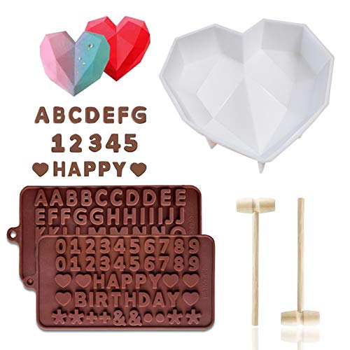 3D Love Heart Diamond Shaped Chocolate Molds DIY Tools Bakeware Cake Mold Handmade Baking Tray Non-stick Moulds Baking Pan for Mousse Jelly Dessert with Mini Wooden Hammer